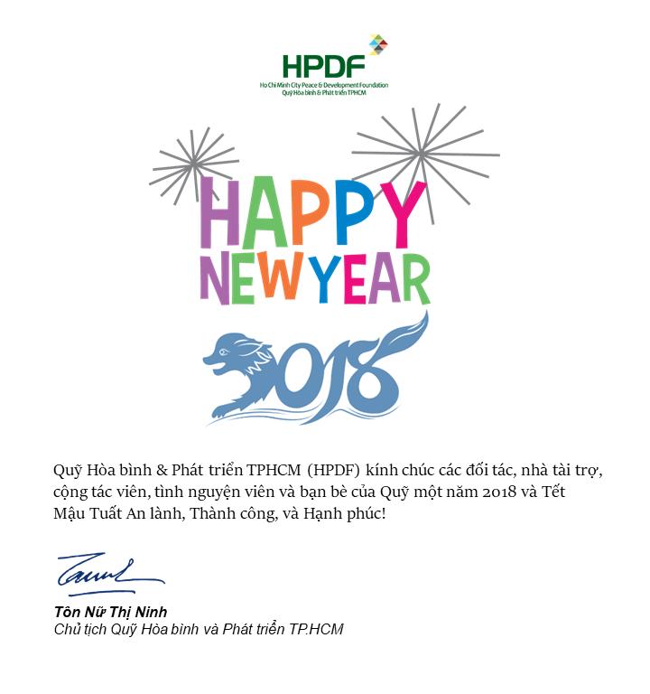 HPDF và Bà Tôn Nữ Thị Ninh chúc mừng năm mới 2018