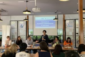 Madam Ton Nu Thi Ninh, President of Ho Chi Minh City Peace and Development Foundation, gives introductory remarks on philanthropy and entrepreneurship on the 14th of March 2019